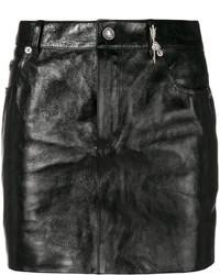 schwarzer Leder Minirock von Saint Laurent