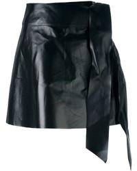 schwarzer Leder Minirock von Valentino
