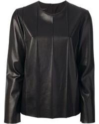 schwarzer Leder Pullover mit einem Rundhalsausschnitt von Cédric Charlier