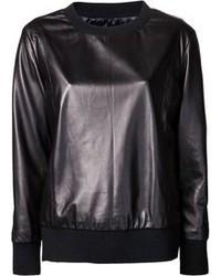 schwarzer Leder Pullover mit einem Rundhalsausschnitt von Drome