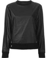 schwarzer Leder Pullover mit einem Rundhalsausschnitt von Philipp Plein