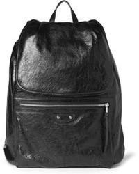 schwarzer Leder Rucksack