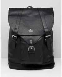 schwarzer Leder Rucksack von ASOS DESIGN