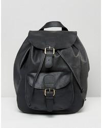 schwarzer Leder Rucksack von Asos