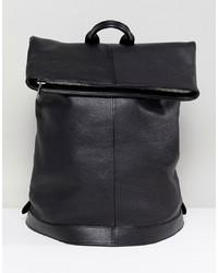 schwarzer Leder Rucksack von ASOS WHITE