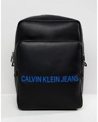 schwarzer Leder Rucksack von Calvin Klein Jeans