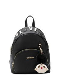 schwarzer Leder Rucksack von Love Moschino