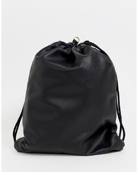schwarzer Leder Rucksack von Mi-Pac