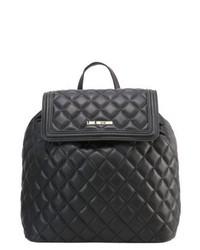 schwarzer Leder Rucksack von Moschino