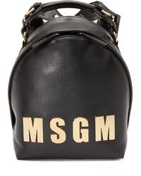 schwarzer Leder Rucksack von MSGM