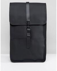 schwarzer Leder Rucksack von Rains