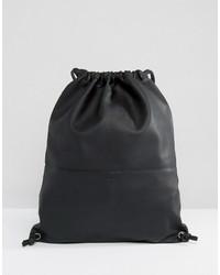 schwarzer Leder Rucksack von SANDQVIST