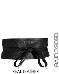 schwarzer Leder Taillengürtel von Asos