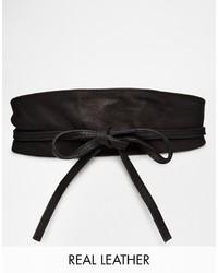 schwarzer Leder Taillengürtel von Pieces