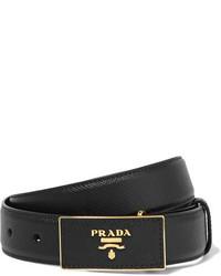 schwarzer Leder Taillengürtel von Prada