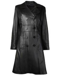 schwarzer Leder Trenchcoat