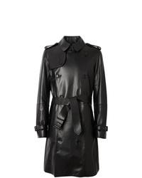 schwarzer Leder Trenchcoat von Burberry