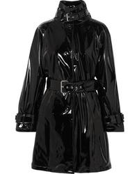 schwarzer Leder Trenchcoat von Moschino