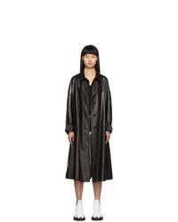 schwarzer Leder Trenchcoat von Prada