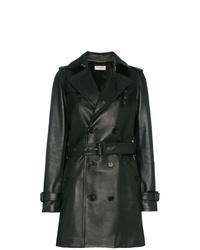 schwarzer Leder Trenchcoat von Saint Laurent