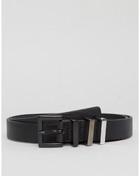 schwarzer Ledergürtel mit geometrischem Muster von Hugo Boss