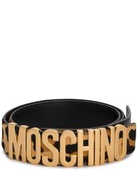 schwarzer Ledergürtel mit Leopardenmuster von Moschino