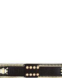 schwarzer Ledergürtel mit Schlangenmuster von Balmain