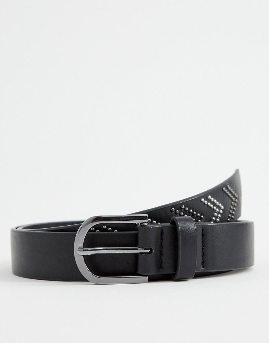 schwarzer Ledergürtel von ASOS DESIGN
