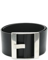 schwarzer Ledergürtel von Maison Margiela