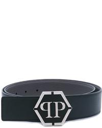 schwarzer Ledergürtel von Philipp Plein