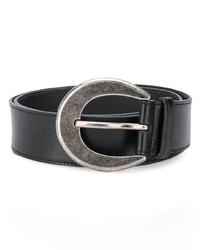 schwarzer Ledergürtel von Saint Laurent