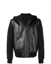 schwarzer Lederpullover mit einem kapuze von Versace