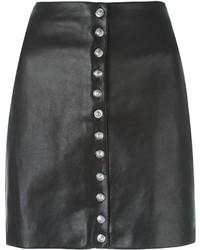 Schwarzer Lederrock mit knöpfen von Versus