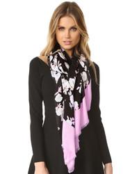 schwarzer leichter Schal mit Blumenmuster von Kate Spade