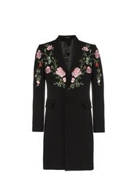 schwarzer Mantel mit Blumenmuster von Alexander McQueen