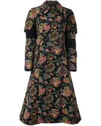 schwarzer Mantel mit Blumenmuster von Comme des Garcons