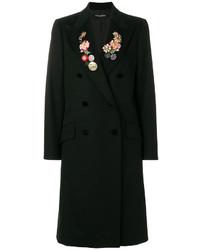 schwarzer Mantel mit Blumenmuster von Dolce & Gabbana