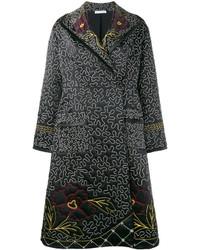 schwarzer Mantel mit Blumenmuster von J.W.Anderson