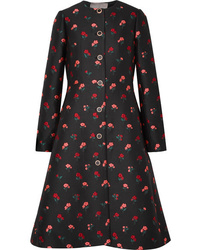 schwarzer Mantel mit Blumenmuster von Lela Rose