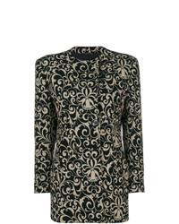 schwarzer Mantel mit Blumenmuster von Versace Vintage