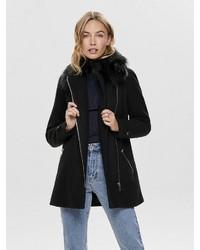 schwarzer Mantel mit einem Pelzkragen von Only