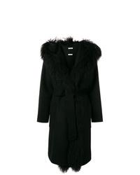 schwarzer Mantel mit einem Pelzkragen von P.A.R.O.S.H.
