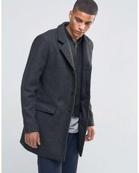 schwarzer Mantel mit Fischgrätenmuster