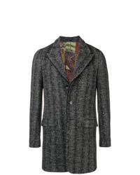 schwarzer Mantel mit Fischgrätenmuster von Etro
