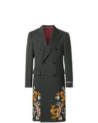 schwarzer Mantel mit Fischgrätenmuster von Gucci