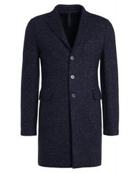 schwarzer Mantel mit Fischgrätenmuster von Harris Wharf London