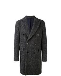 schwarzer Mantel mit Fischgrätenmuster von Mp Massimo Piombo