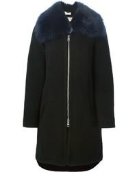 Schwarzer Mantel mit Pelzkragen von Chloé