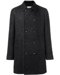 schwarzer Mantel mit Schottenmuster