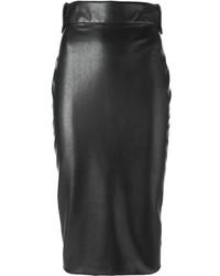 schwarzer Midirock aus Leder von Ermanno Scervino